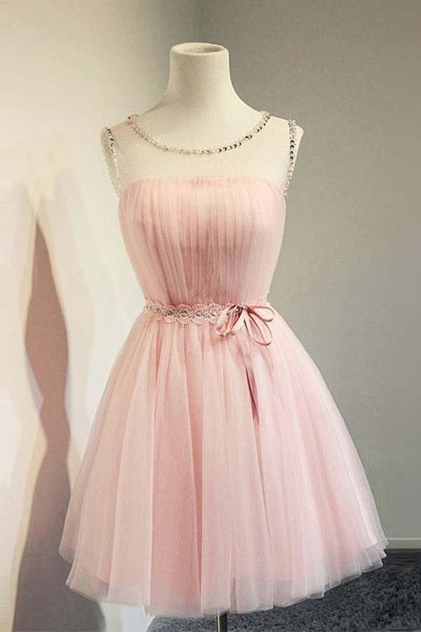 Cute A-line Round Neck Pink Tulle Short Prom Dress Homecoming Dresses-Pgmdress