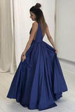 Deep V-Neck Floor-Length Royal Blue Taffeta Prom Dress with Pockets PG465 - Pgmdress