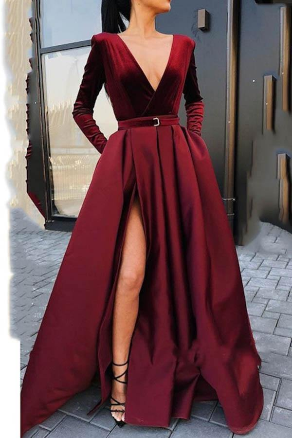 Deep V Neck Long Sleeves Burgundy Floor-Length Prom/Evening Dress-Pgmdress