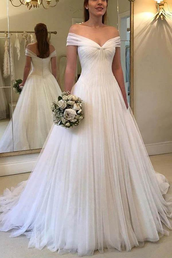 Elegant A-line Off the Shoulder Chiffon White Long Wedding Dresses-Pgmdress