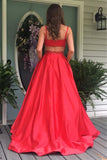Elegant A-line Red Long Prom Dress Evening Dress with Open Back  PG537 - Pgmdress