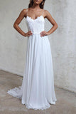 Elegant A-line Straps White Long Chiffon Beach Wedding Dress WD102 - Pgmdress