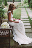 Elegant Lace Appliques Wedding Dress With Zipper Button WD048