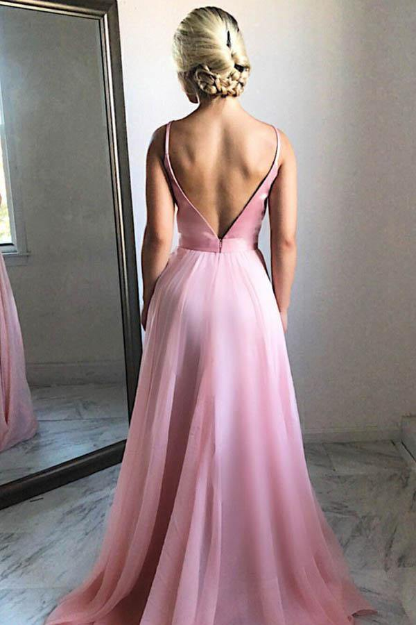Flowing A-Line V-Neck Sweep Train Pink Chiffon Prom Party Dress-Pgmdress