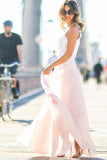 Gorgeous Crew Long Pink Chiffon Prom Dress with White Lace Top PG391 - Pgmdress
