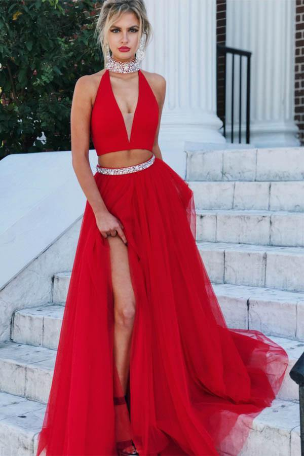 Gorgeous Two Piece Red Tulle Halter Long Prom Dress With Slit-Pgmdress