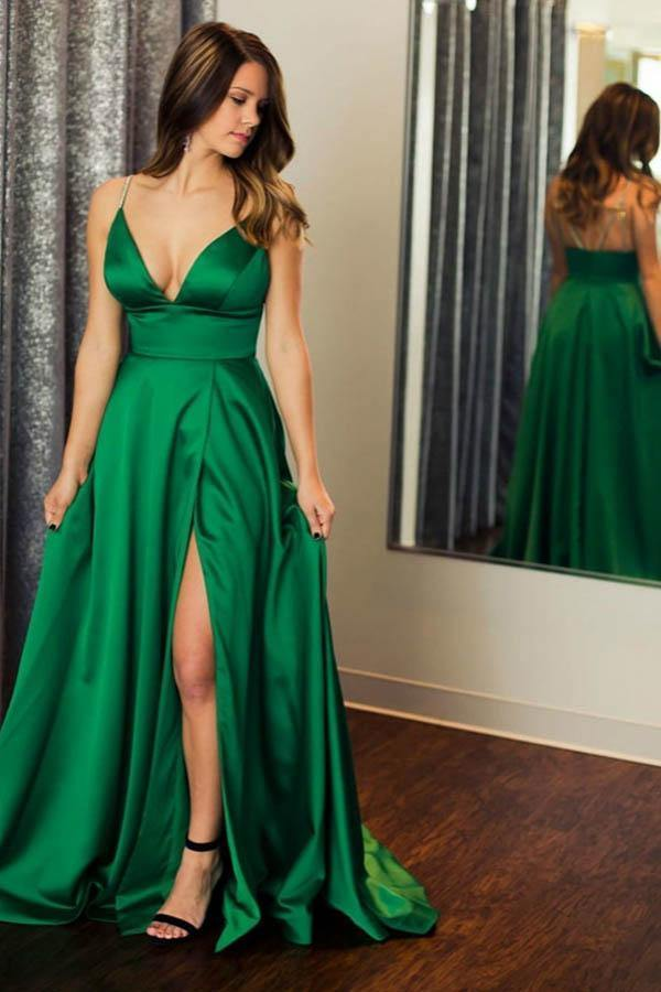 Green Satin Spaghetti Straps Beading Prom/Formal Dress With Split-Pgmdress