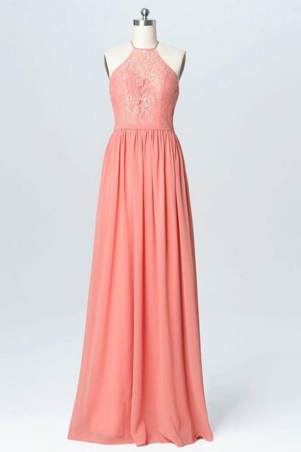 Halter Lace Long Chiffon Cheap Peach Bridesmaid Dresses-Pgmdress
