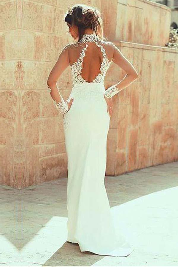 High Neckline Sheath Wedding Dresses With Beaded Lace Appliques WD191 - Pgmdress