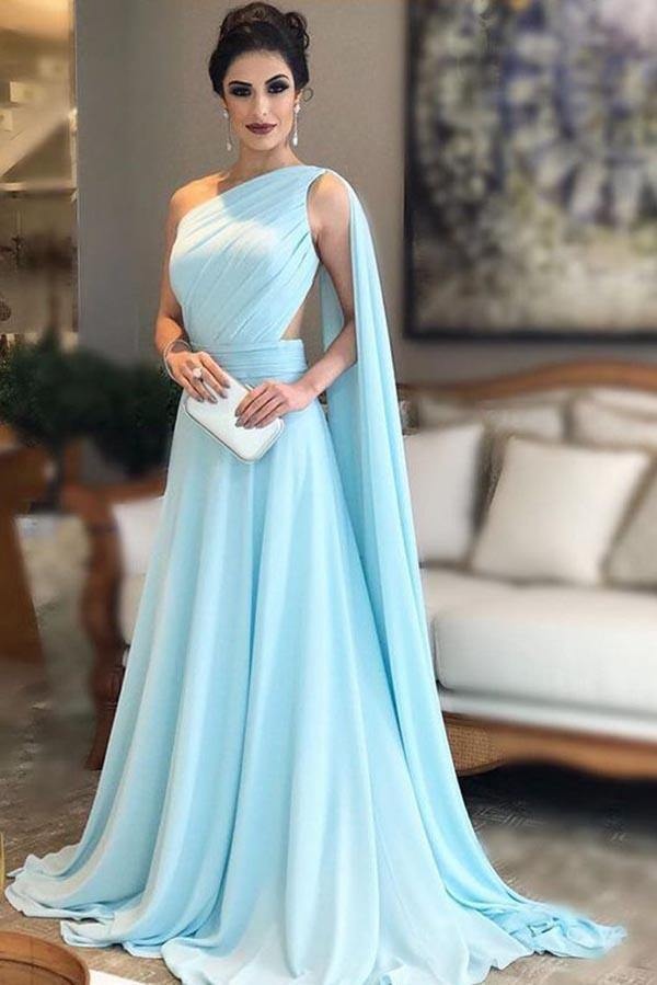 Light Blue One Shoulder Chiffon Pleats Sheer Illusion Back Prom Gown-Pgmdress