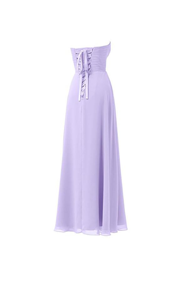 Lilac Chiffon Bridesmaid Dress Floor Length Prom Evening Gown BD005 - Pgmdress