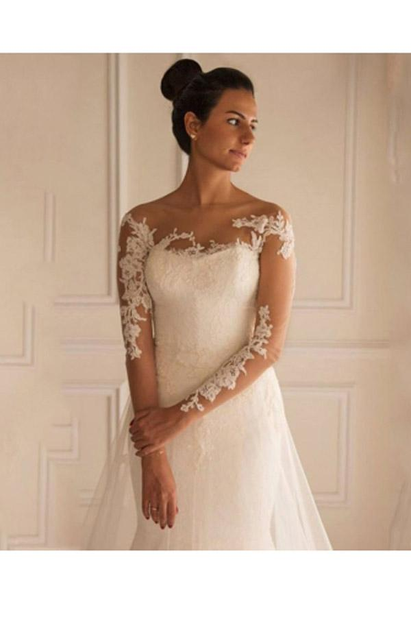 Long Sleeves Appliques Button Floor-Length Mermaid Wedding Dress WD151 - Pgmdress