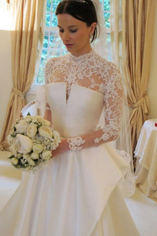 Long Sleeves High Neck Lace Court Train Satin Wedding Dress WD159 - Pgmdress