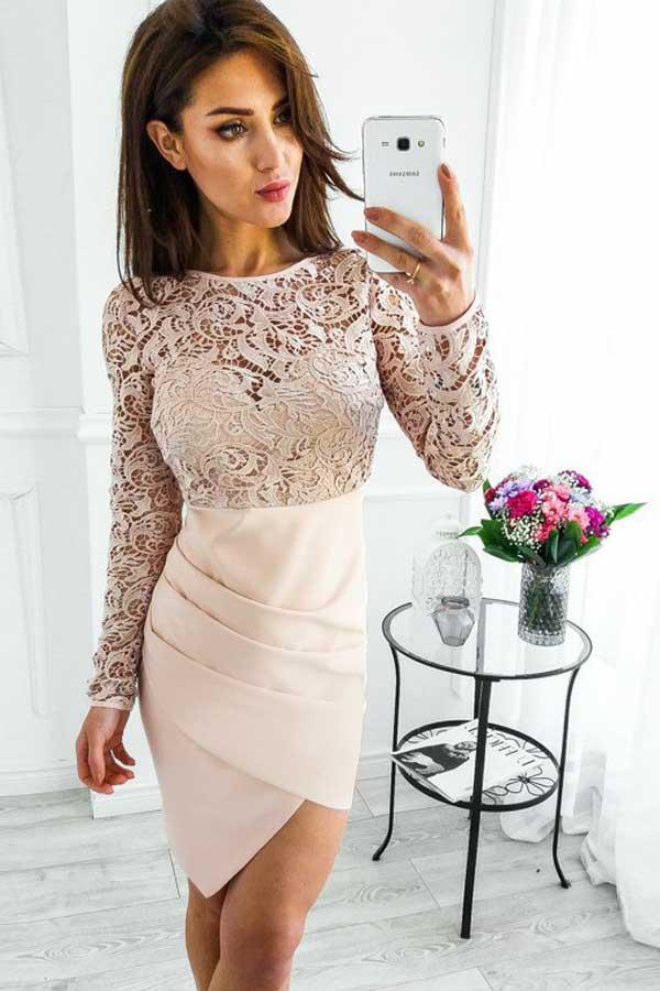 Long Sleeves Pearl Pink Satin Homecoming Dress with Lace PG199 - Pgmdress