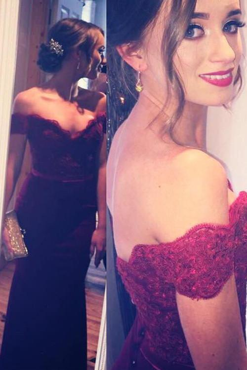 Mermaid Off Shoulder Lace Burgundy Long Prom/Evening Dress-Pgmdress