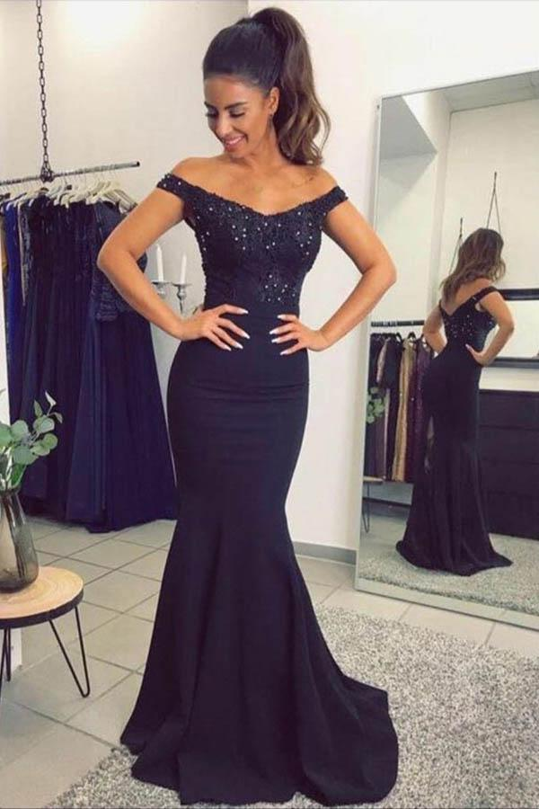 Mermaid Off-the-Shoulder Navy Blue  Prom Dress with Sequins-Pgmdress