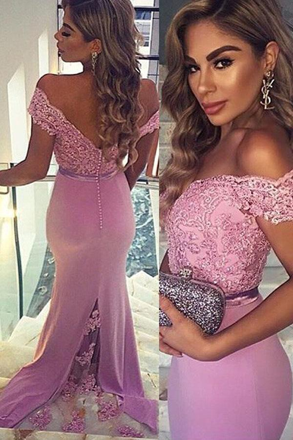 Mermaid Off-the-Shoulder Train Satin Prom Dress with Appliques Lace-Pgmdress
