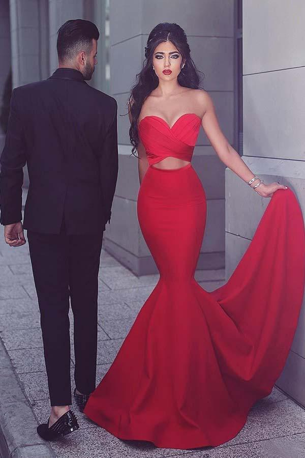Mermaid Sweetheart Sweep Train Red Satin Prom/Evening Dress-Pgmdress