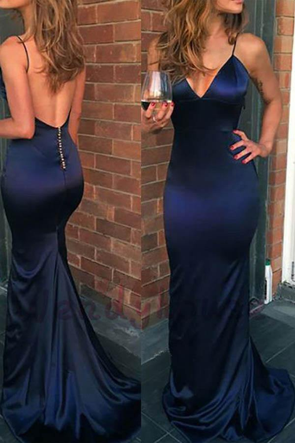 Mermaid V Neck Spaghetti Straps Navy Blue Elastic Satin Long Prom Dresses-Pgmdress
