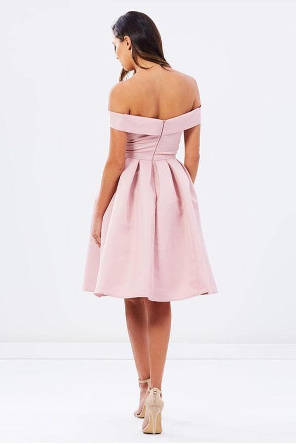 Natural Off-the-shoulder Pleated A-line Sleeveless Homecoming Dresses-Pgmdress