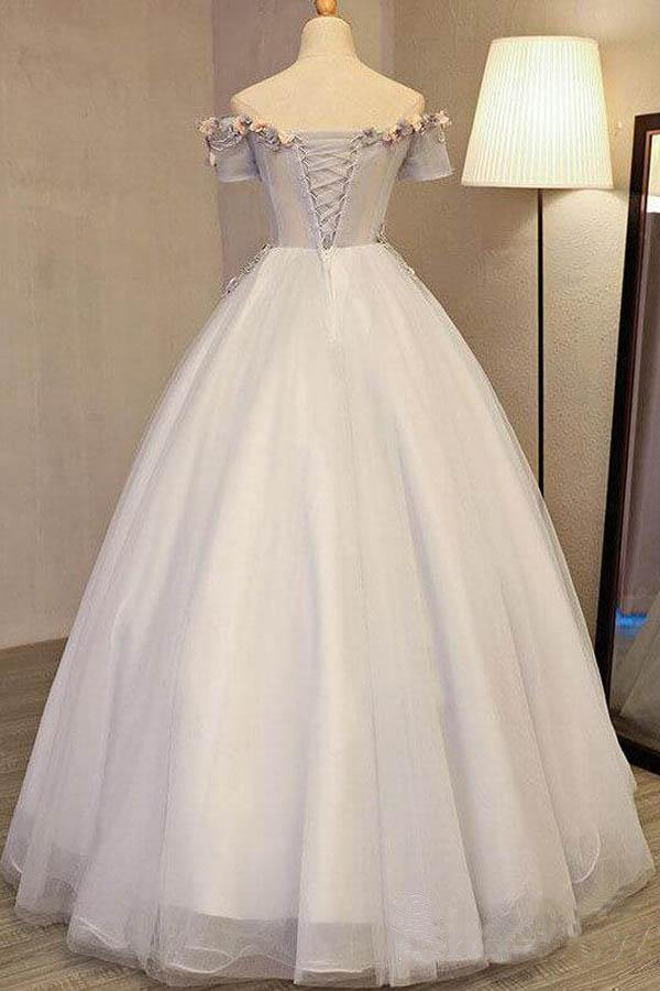 Off the Shoulder Ball Gown Prom Dresses Long Princess Cute Quinceanera Dress-Pgmdress