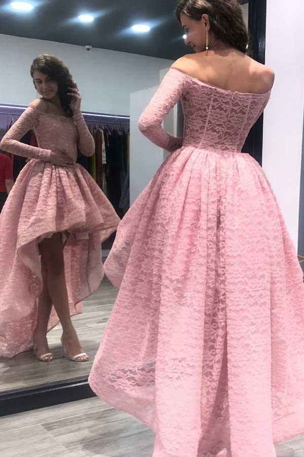 Off-the-Shoulder High Low Pink Long Sleeves Lace Prom Dress-Pgmdress