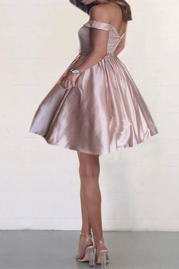 Off the Shoulder Satin Beaded Homecoming Dresses with Pocket PD167 - Pgmdress
