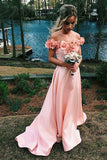 Off-the-Shoulder Sweep Train Pink Satin Sleeves Prom Dress with Flowers-Pgmdress