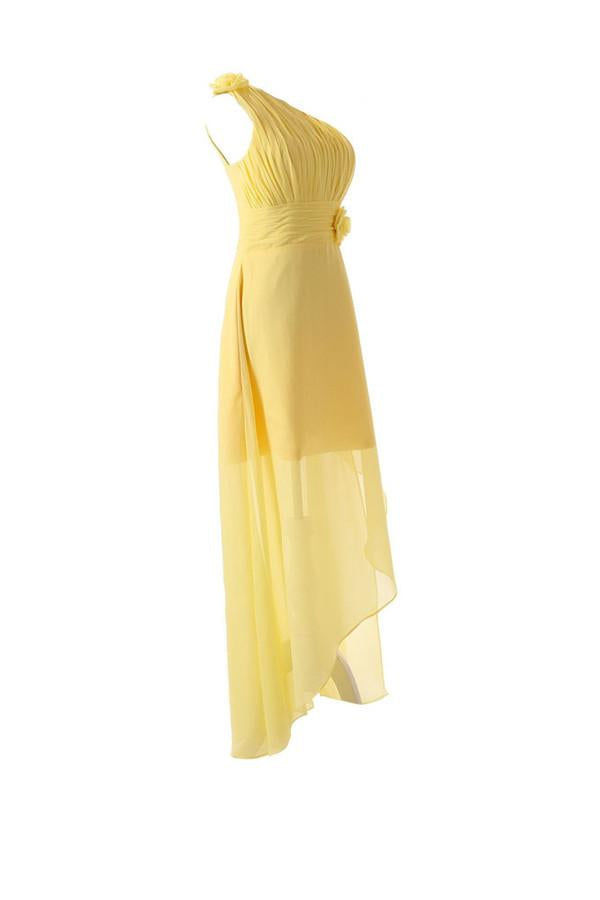 One Shoulder Floor Length Chiffon Yellow Bridesmaid Dress With Flower-Pgmdress