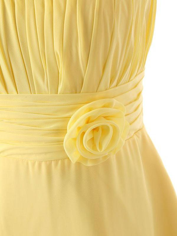 One Shoulder Floor Length Chiffon Yellow Bridesmaid Dress With Flower BD015 - Pgmdress
