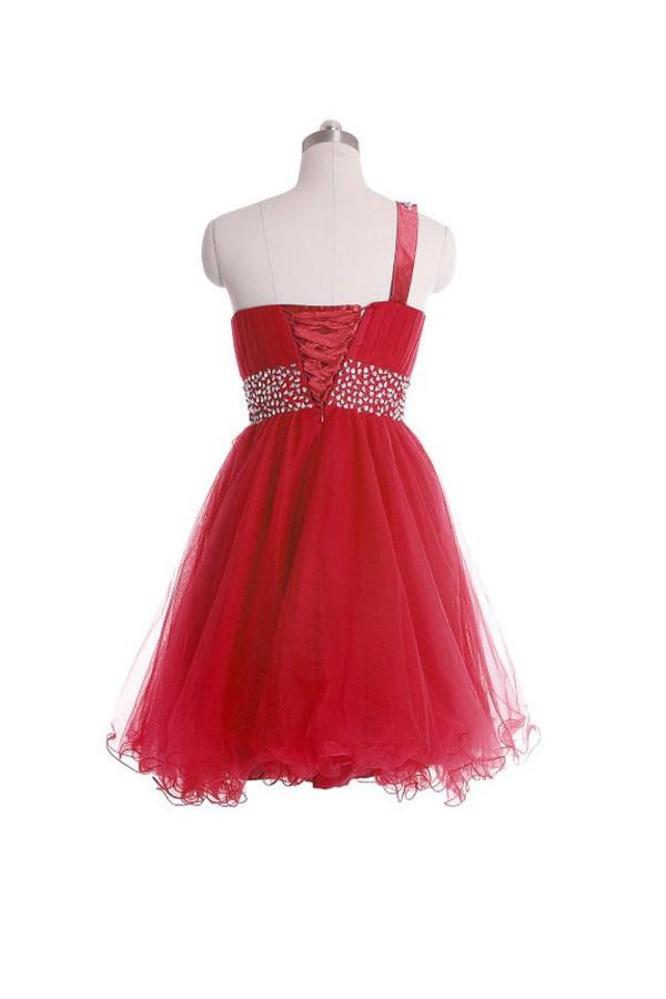 One Shoulder Short Prom Dresses Homecoming Dress With Beading-Pgmdress