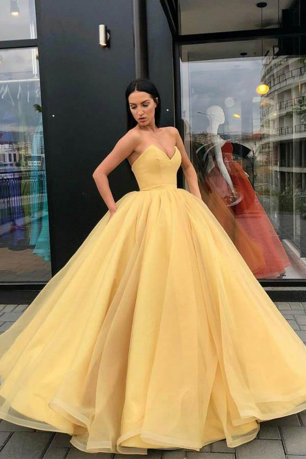 Organza Ball Gowns Prom Dresses Sweetheart Evening Dresses-Pgmdress