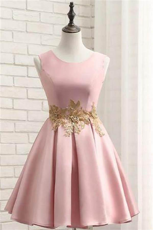 Pink Short Prom Dress Satin Homecoming Dress with Gold Applique-Pgmdress