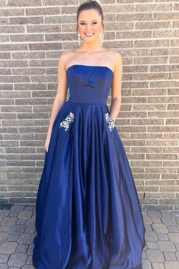 Princess Strapless Navy Blue Long Prom Dress with Pockets-Pgmdress