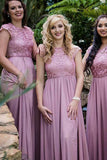 Round Neck Cap Sleeves  Chiffon Bridesmaid Dress with Lace-Pgmdress
