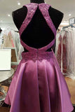 Round Neck Open Back Fuchsia Short Homecoming Dress with Lace Beading-Pgmdress