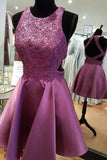 Round Neck Open Back Fuchsia Short Homecoming Dress with Lace Bead-Pgmdress