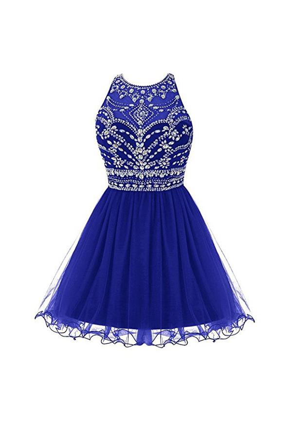 Royal Bule Tulle Homecoming Dresses 2016 Short Prom Gowns  PG045 - Pgmdress