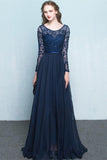 Scoop Chiffon Neck Long Sleeves Beading Evening Dress Prom Dress-Pgmdress