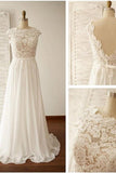 Scoop Neck V-Back Lace A-Line Wedding Dress-Pgmdress