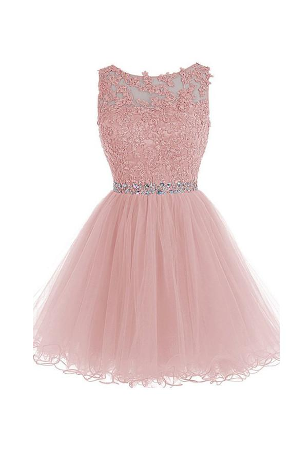 Scoop Short Pink Zipper-up Tulle Homecoming Dress With Beading-Pgmdress
