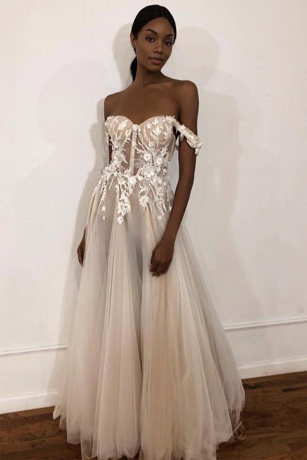 See-Through Off Shoulder Ivory Long Wedding Dress with Appliques-Pgmdress