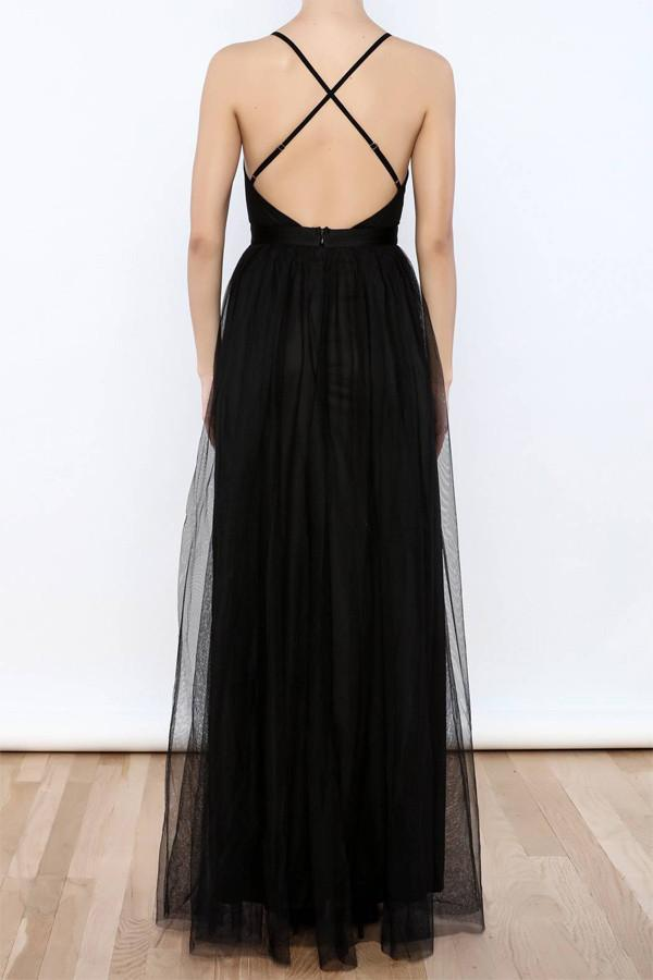 Sexy Black V Neck Side Slit Tulle Evening Gowns Prom Dresses-Pgmdress