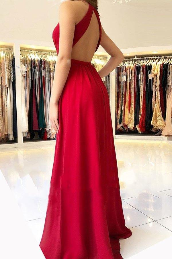 Sexy Chiffon Red Halter Side Slit Long Evening Prom Dresses-Pgmdress