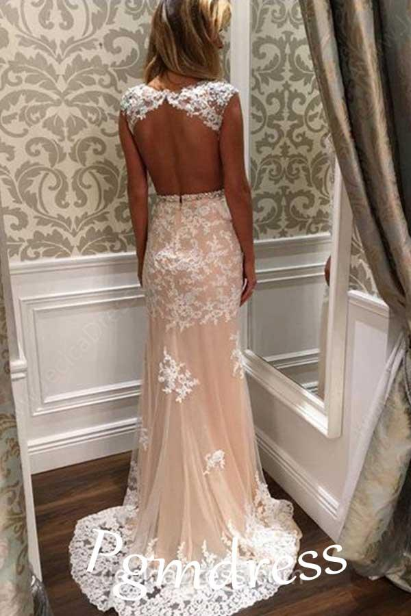 Sheath/Column Tulle Sweep Train Appliques Lace Open Back Prom Dress-Pgmdress