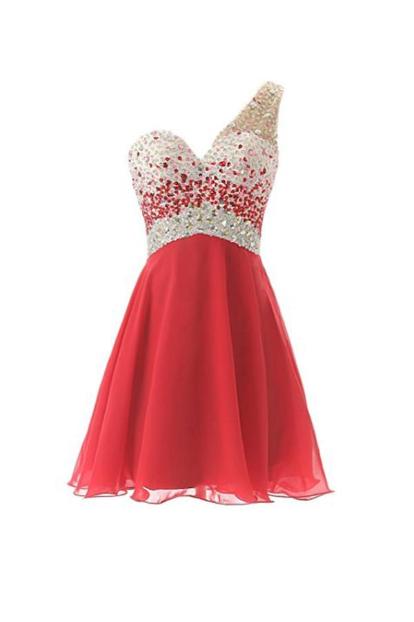 Short Homecoming Dress One Shoulder Prom Evening Dress PG024