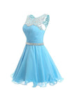Short Homecoming Dress Ruched Chiffon Prom Dress with Beads-Pgmdress