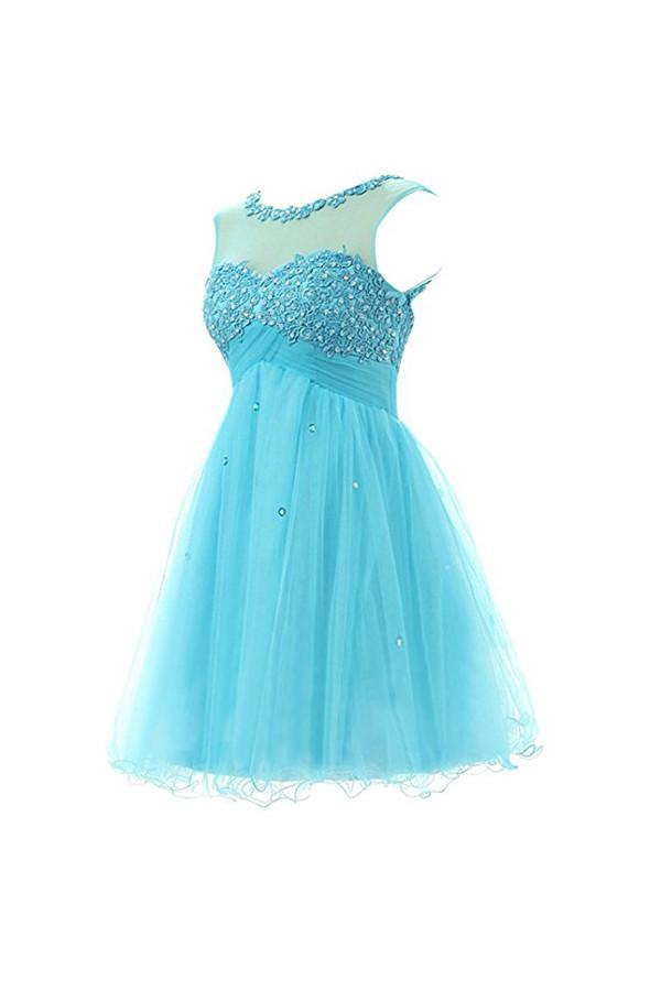 Short Prom Dress Tulle Homecoming Dress With Applique  PG062