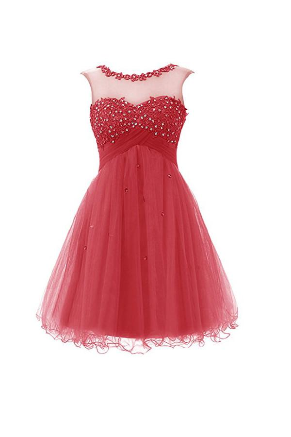 Short Prom Dress Tulle Homecoming Dress With Applique  PG062 - Pgmdress