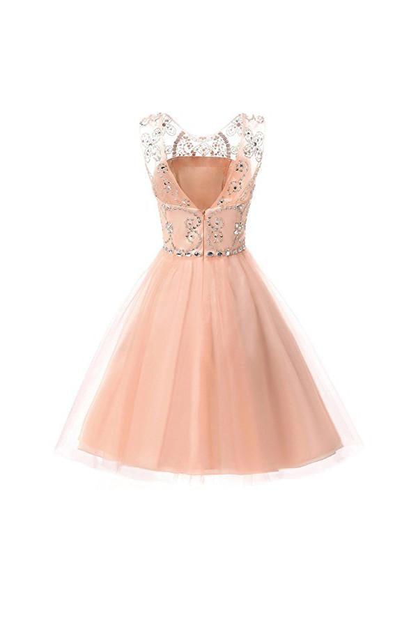 Short Tulle Beading Homecoming Dresses Prom Gowns Party Dresses-Pgmdress